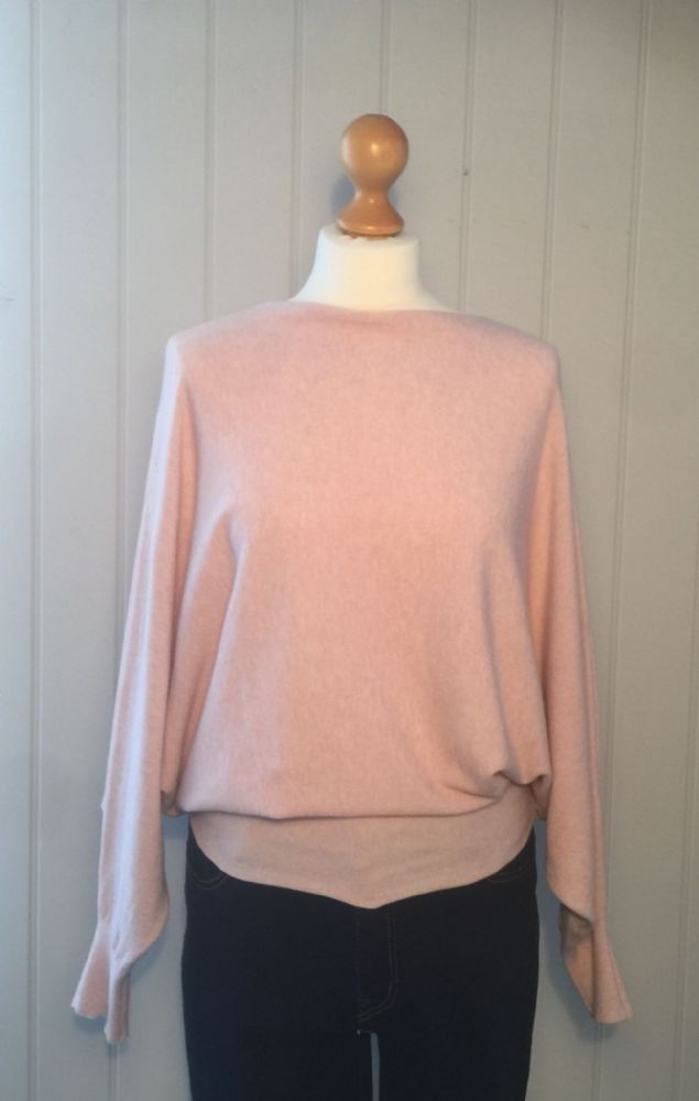 Pearl Back Batwing Jumper - Pink